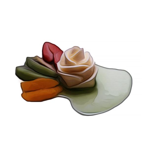 アイスクリームのバラ花絞り、フルーツ添え アイスクリームレシピ