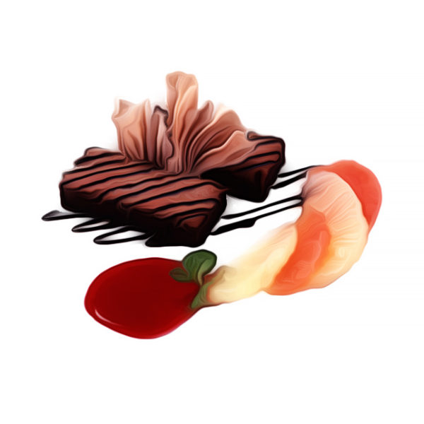 セザミ・チョコレートケーキ、フルーツ添え|チョコレートレシピ
